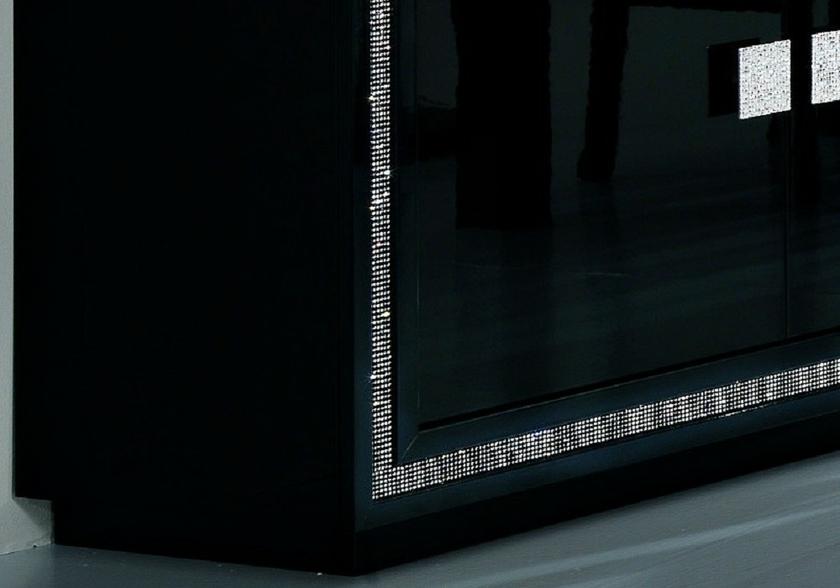 salle-a-manger-complète-design-laque-noir-led-prestige