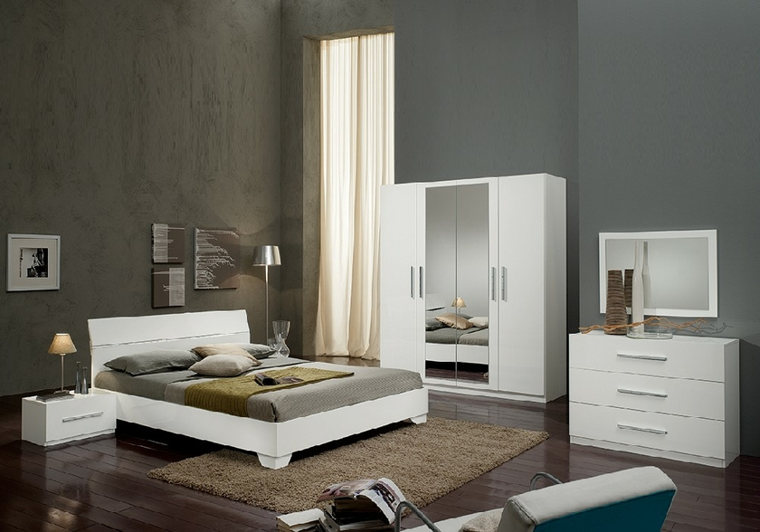 chambre coucher laqu blanc gloria chambre desing pas cher. Black Bedroom Furniture Sets. Home Design Ideas
