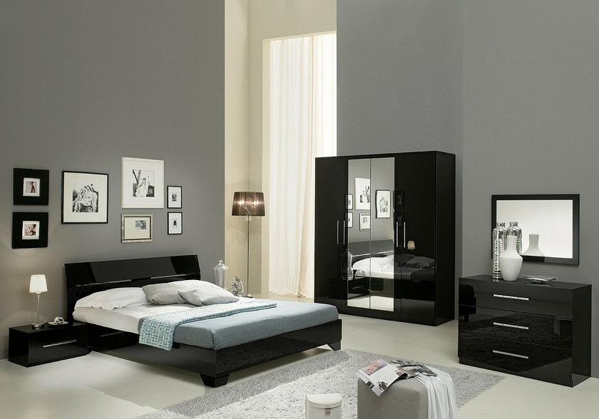 chambre coucher laqu noir gloria design moderne chic