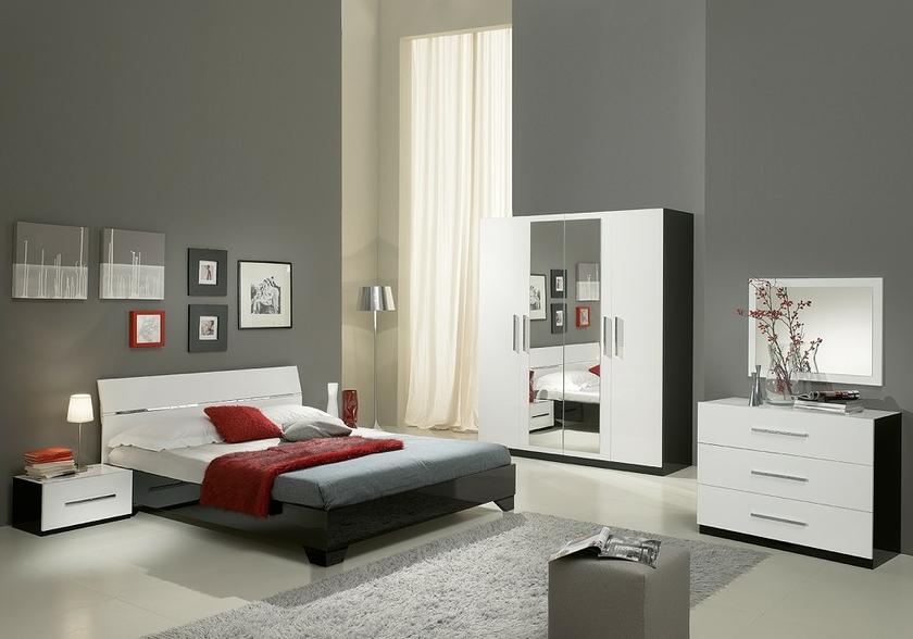 Chambre À Coucher Laquée Noir Blanc Gloria - Design & Pas Cher !