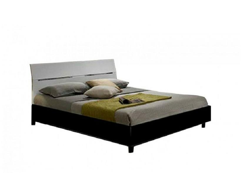 Chambre coucher laqu e noir blanc gloria design pas for Meuble chambre noir