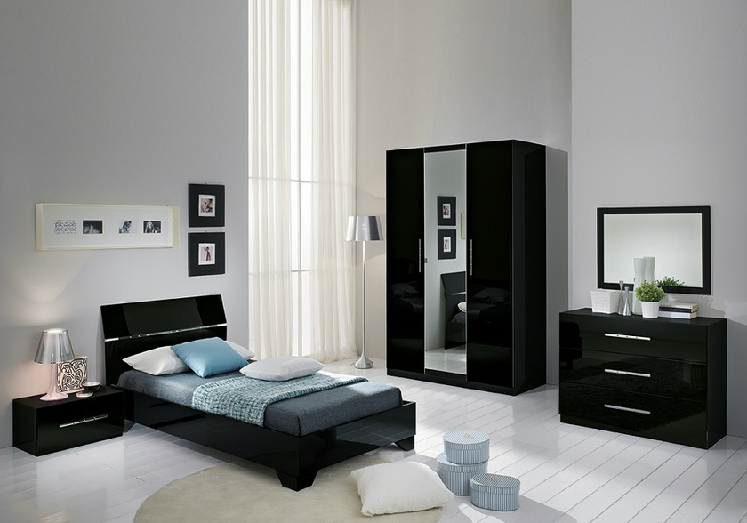 chambre coucher enfant laqu noir gloria lignes chic. Black Bedroom Furniture Sets. Home Design Ideas