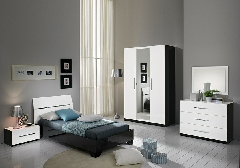 chambre coucher enfant laqu noir blanc gloria lignes moderne. Black Bedroom Furniture Sets. Home Design Ideas