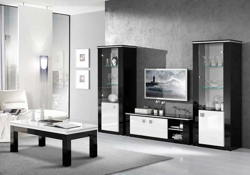vitrine meuble tv laqu noir blanc etoile design sobre moderne. Black Bedroom Furniture Sets. Home Design Ideas