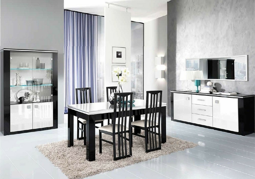 salle manger laqu noir blanc etoile design tendance moderne. Black Bedroom Furniture Sets. Home Design Ideas