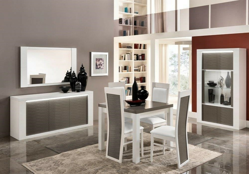 salle manger laqu blanc gris led venezia collection design. Black Bedroom Furniture Sets. Home Design Ideas