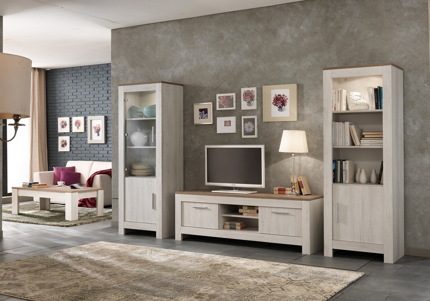 vitrine meuble tv ch ne blanchi brun padova s jour mur tv living. Black Bedroom Furniture Sets. Home Design Ideas