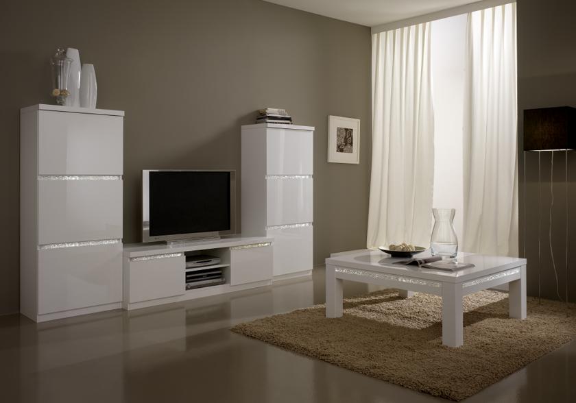 Colonnes meuble tv laqu blanc roma crome design chic pour for Meuble sejour laque blanc