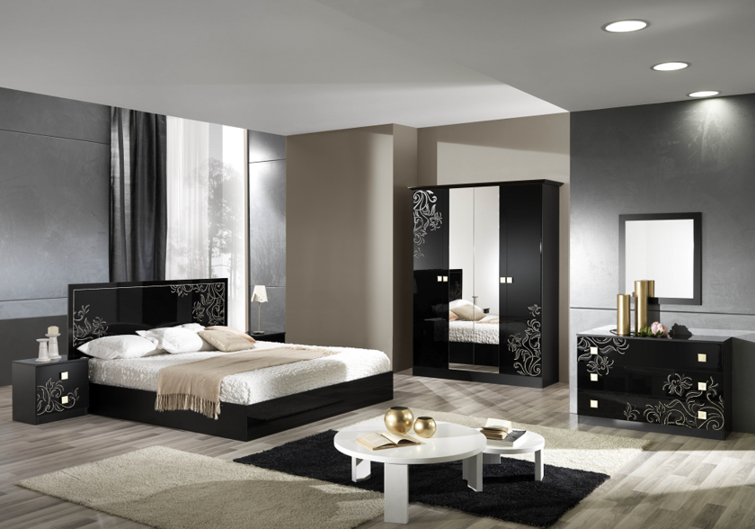 Chambre compl te laqu noir viola d cor dor style baroque for Chambre complete design noir
