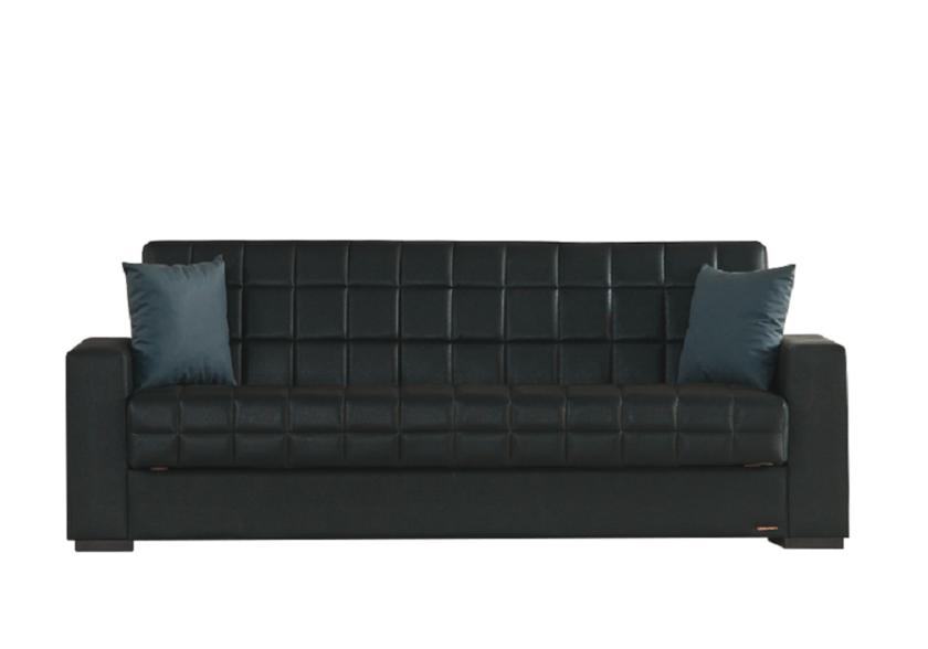 Canapé lit clic-clac coffre simili cuir noir FLEX Sobre Pas Cher 22cdef908a7e