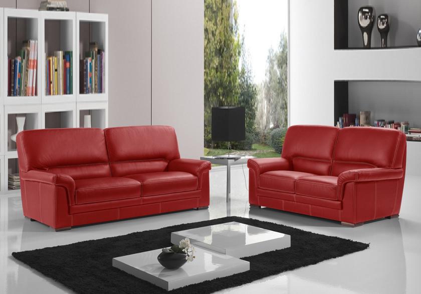 Canapé cuir design rouge ANITA Canapé & Salon Cuir ITALY Pas Cher