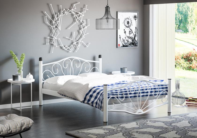 lit m tal blanc jasmine literie lit accessoire. Black Bedroom Furniture Sets. Home Design Ideas