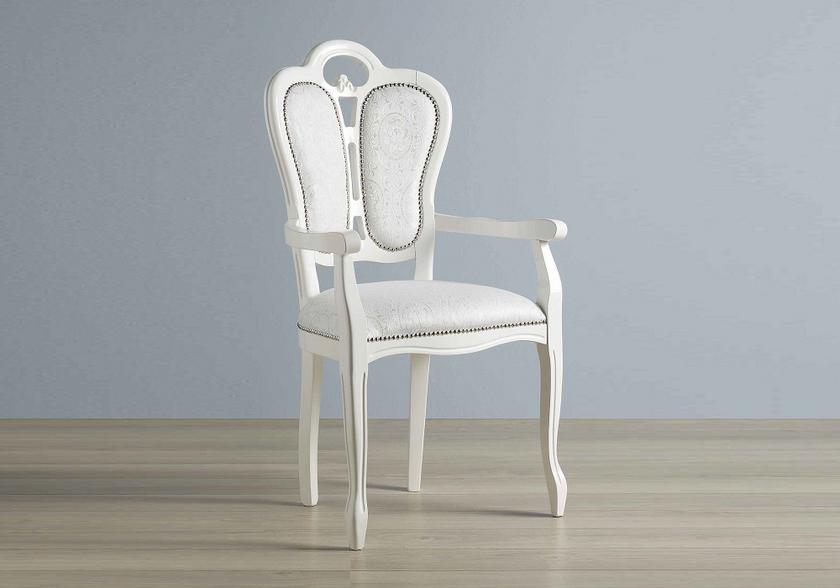 Chaise Tissu Accoudoire Greta Blanc