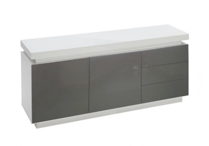 Buffet laqué blanc gris LED OPRA.6