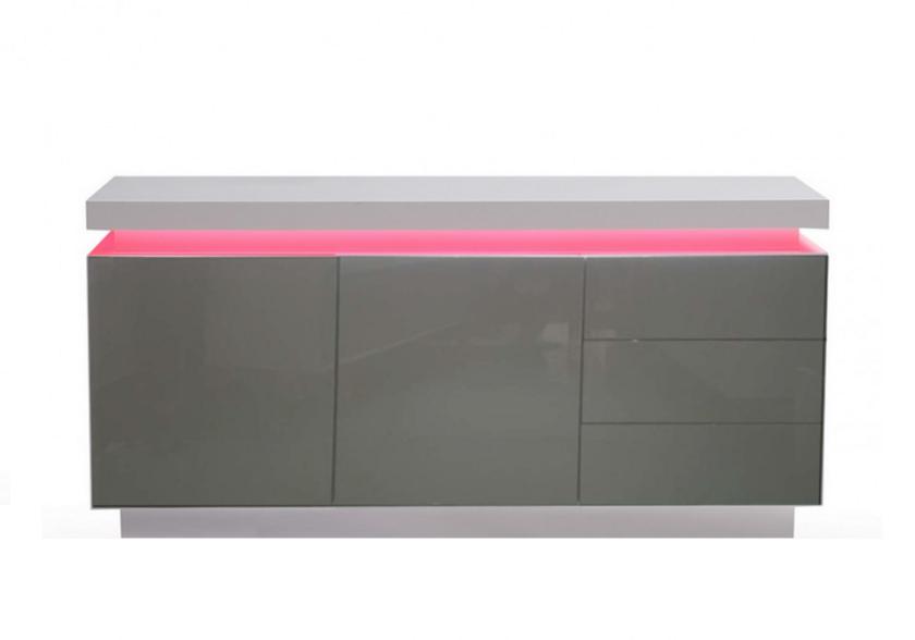 Buffet laqué blanc gris LED OPRA.9