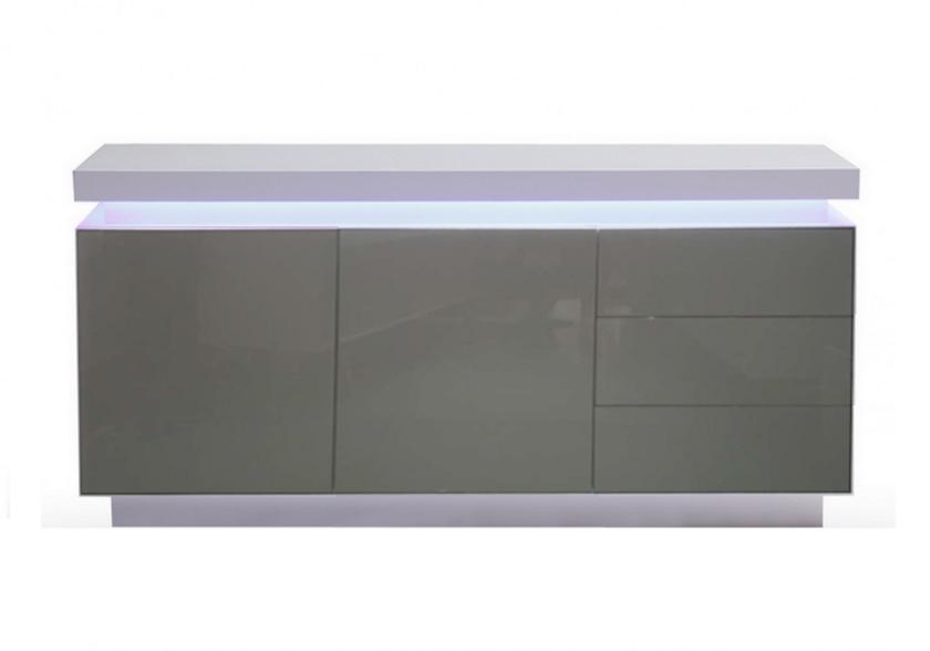 Buffet laqué blanc gris LED OPRA.10