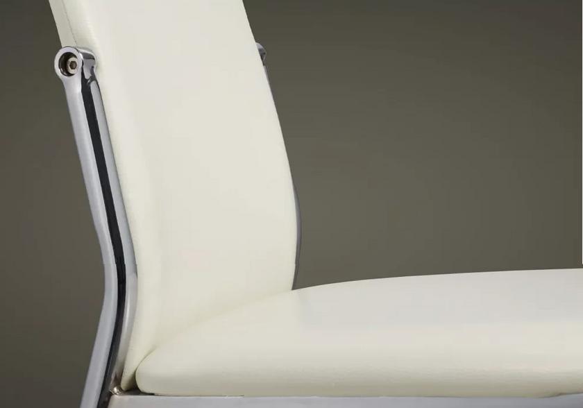 Lot de 4 chaises chromé cuir blanc BEA.4