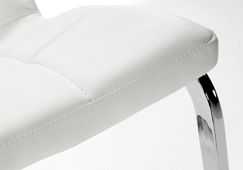 Lot de chaises chromé capitonné cuir blanc SIA.2