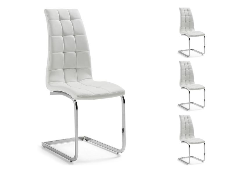 Lot de chaises chromé capitonné cuir blanc SIA.4