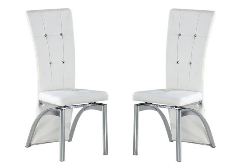 Lot de chaises chromé capitonné cuir blanc ZEA.1
