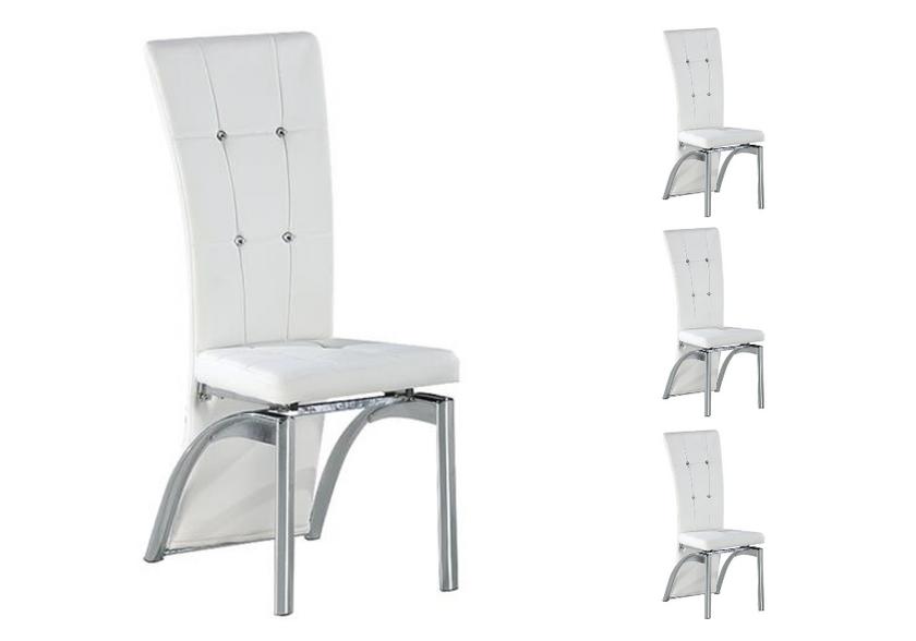 Lot de chaises chromé capitonné cuir blanc ZEA
