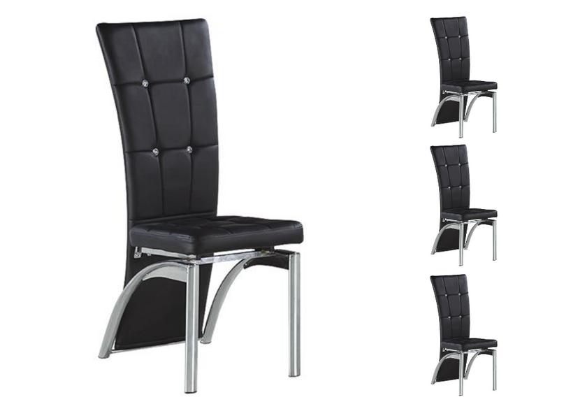 Lot de chaises chromé capitonné cuir noir ZEA