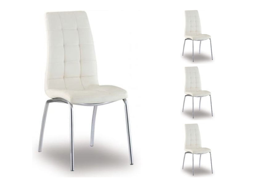 Lot de chaises chromé cuir blanc DEA.1