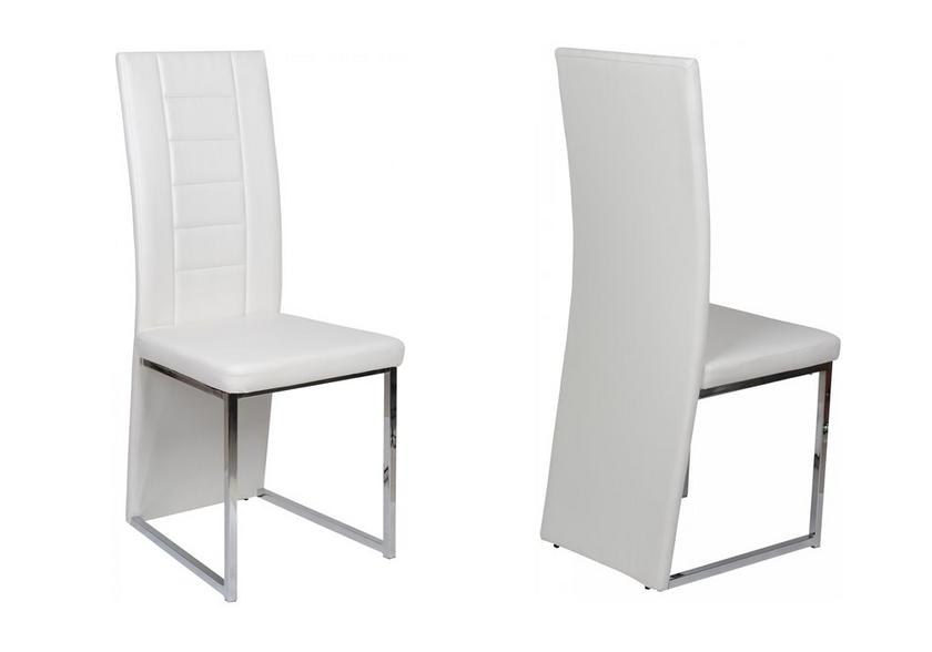 Lot de chaises chromé cuir blanc ERA.1