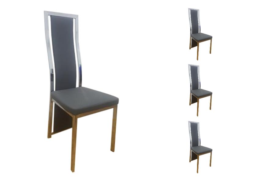 Lot de chaises chromé cuir gris DIA.1