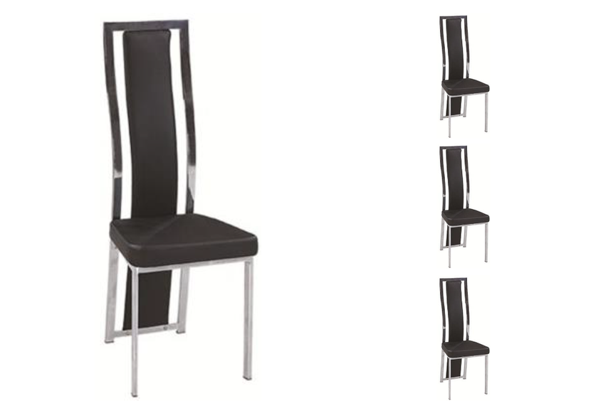 Lot de chaises chromé cuir noir DIA.1