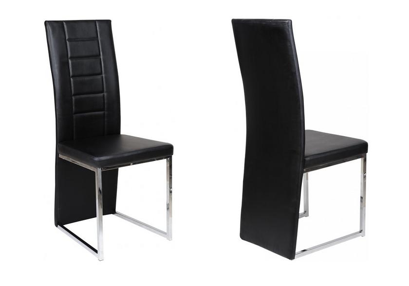 Lot de chaises chromé cuir noir ERA.1