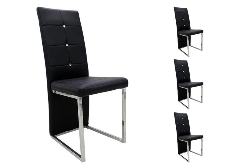 Lot de chaises chromé cuir noir SYM.1