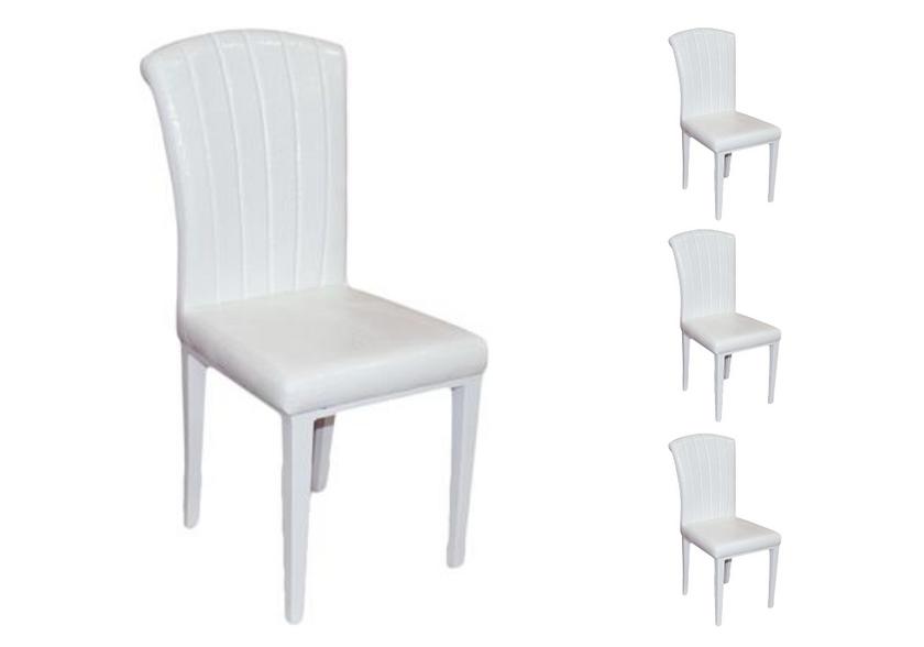 Lot de chaises laqué cuir croco blanc SLY