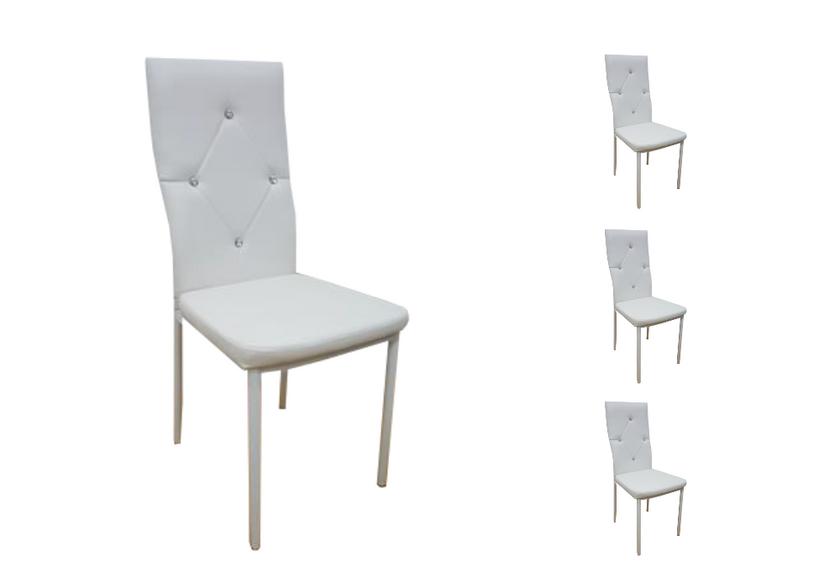 Lot de chaises simili cuir strass blanc ISA