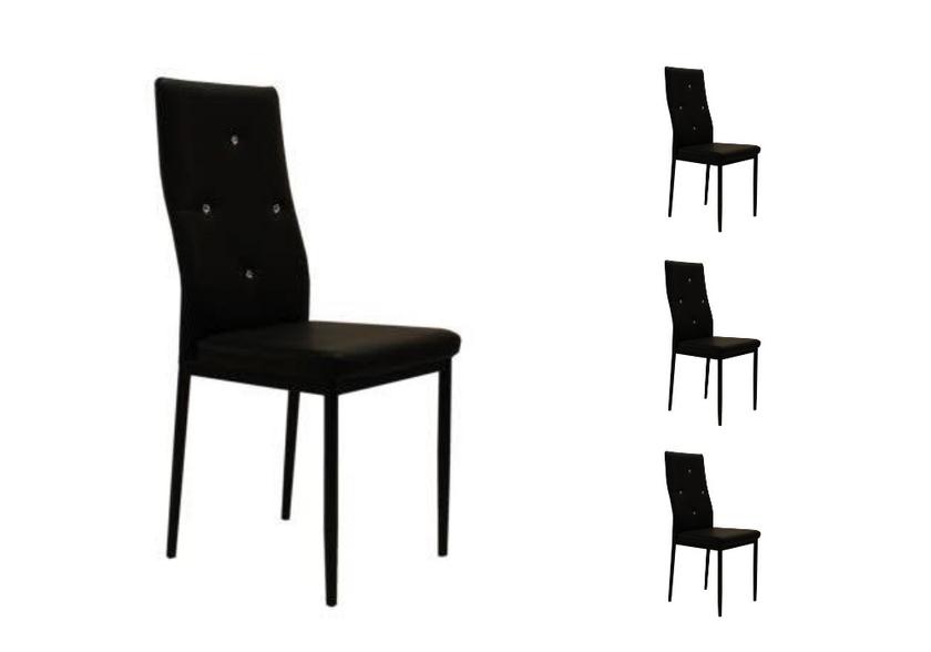 Lot de chaises simili cuir strass noir ISA