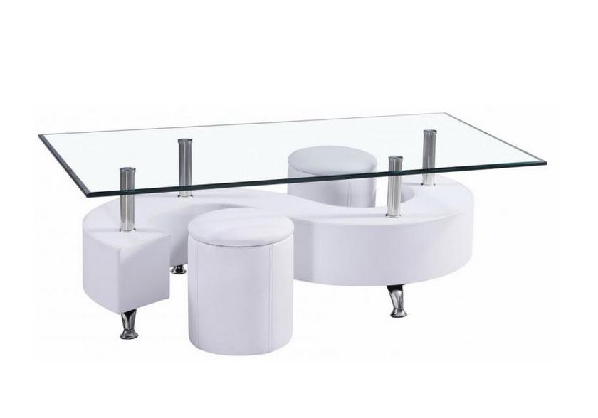 Table basse 2 poufs blanc CLOE