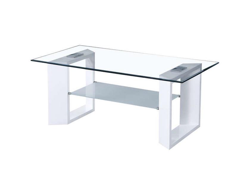 Table basse laqué blanc verre trempé LITE