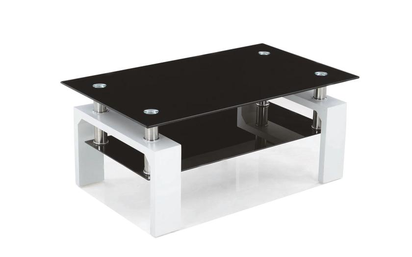 Table Basse Laque Blanc Verre Trempe Noir Toe Design Pas Cher