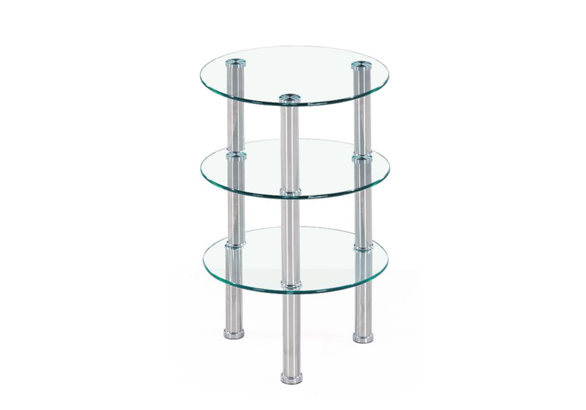 Table d'appoint chromé verre ZOA