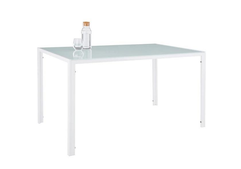 Table repas verre + 4 chaises blanc CONFO.1