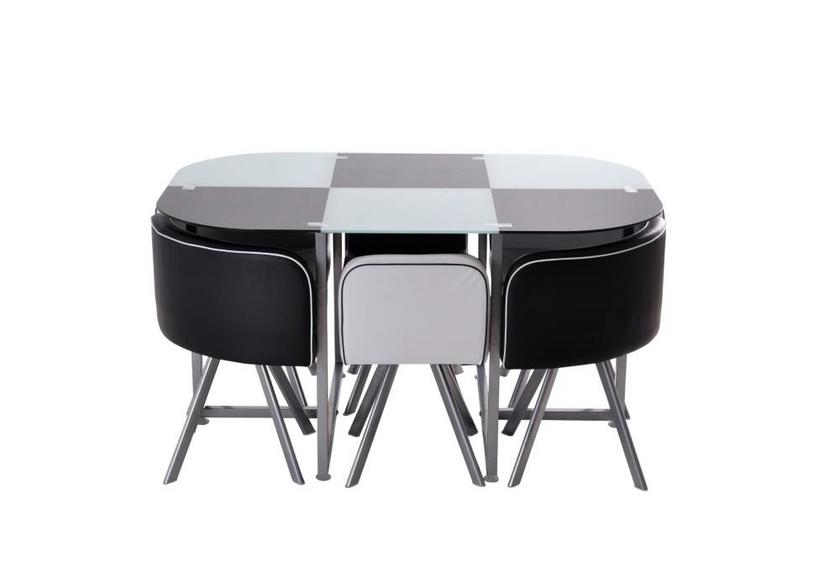 Table repas verre + 6 chaises noir SPACE
