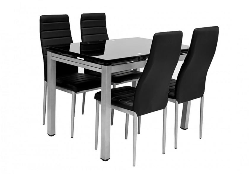 Table Verre Extensible 6 Chaises Noir Fly Design Pas Cher