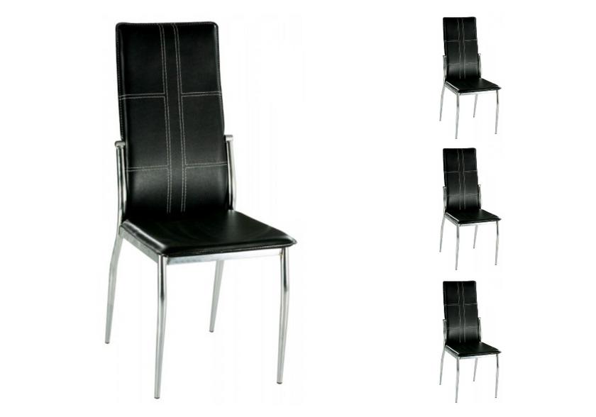 Lot de 4 chaises design noir TERA.1
