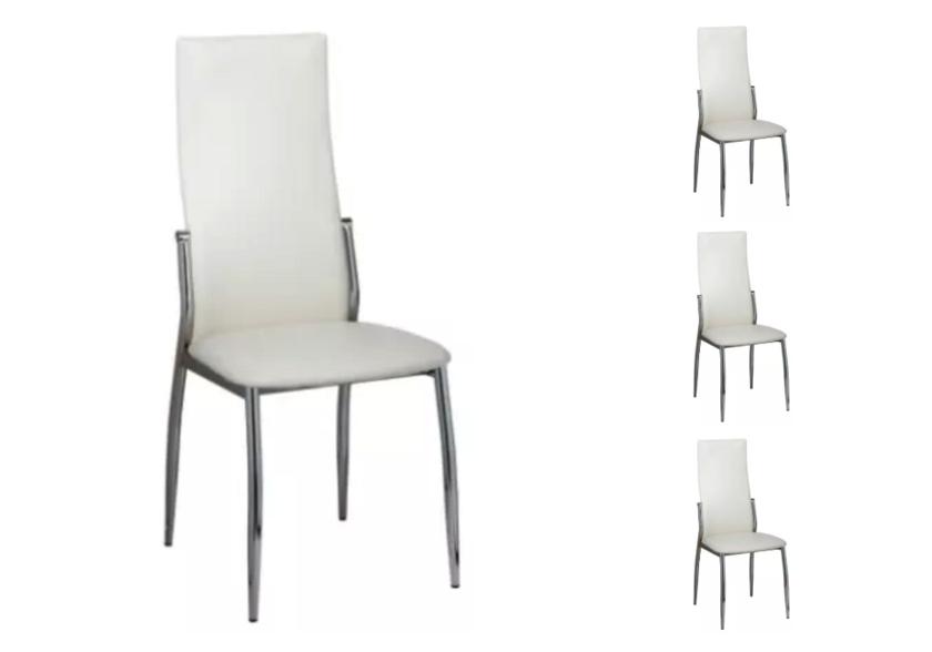 Lot de 4 chaises chromé cuir blanc BEA