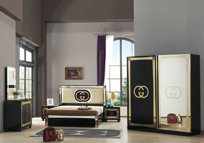 chambre compl te noir or led gugi meuble chambre compl te chic. Black Bedroom Furniture Sets. Home Design Ideas