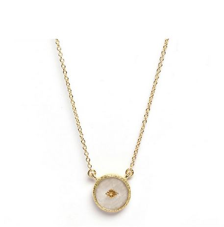 Collier Pierre De Lune Ronde Plaque Or Collection Sanja Be Maad