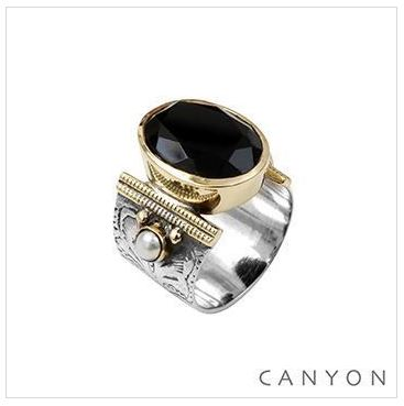 112f5ba35f0 Bague argent 925 onyx noir ovale et 2 perles sertis - Canyon - Bague/Bague  Canyon - La Belle Simone Bijoux Rouen 76