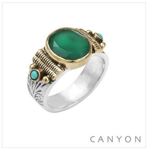 Bague argent modèle moyen onyx vert ovale et 2 turquoises reconstituées - Canyon