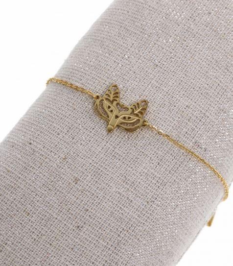 acheter en ligne 079a3 69151 Bracelet renard doré pendentif H1.2cm L1.5cm acier inoxydable - Mile Mila