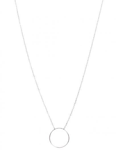 M5C124 Sautoir petit anneau argent Lg 75cm + 5cm rallonge pendentif diametre 2.5cm acier inoxydable - Mile Mila 15.9